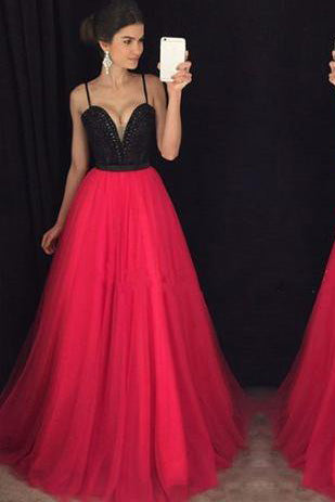 Attractive Black and Red Sweetheart Neck Long Prom Gown with Beading PM423