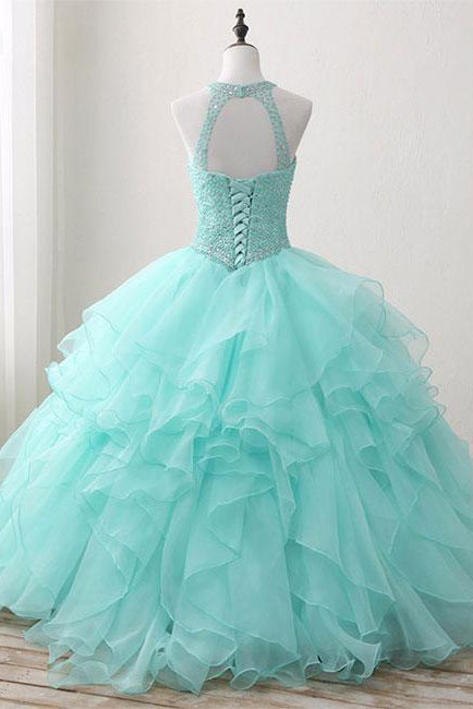 Ball Gown Long Green Sleeveless Open Back Lace up Beads High Neck Prom Dresses uk PM422