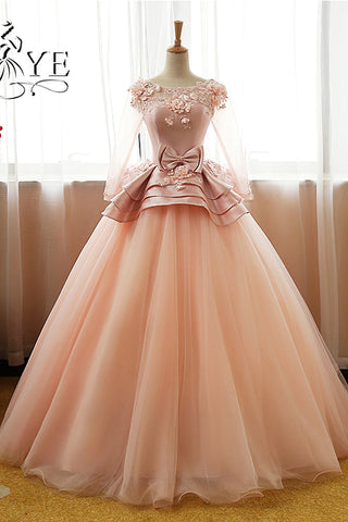 Vintage Pink Flower Long Sleeves Puffy Tulle Long Quinceanera Dress,Prom Dresses UK PH428