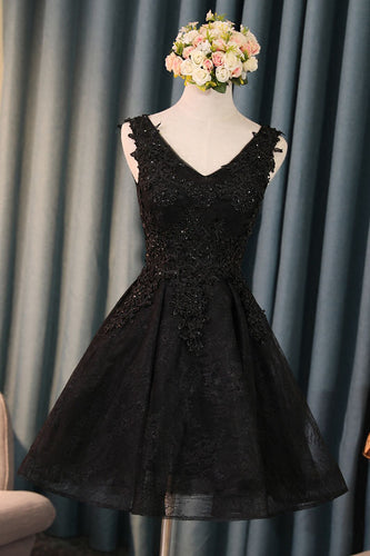 Black V Neck Cute A-Line Appliques Sleeveless Tulle Lace Beading Short Homecoming Dress PM189