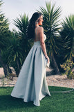 Elegant A-line Straps Backless Sleeveless Satin V-Neck Blue Long Prom Dresses uk PM283