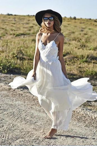 Boho Sexy Online Ivory Simple Backless Lace Beach V-Neck Long Wedding Dresses