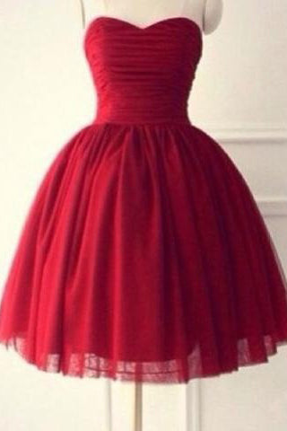 Hot-selling Sweetheart Sleeveless Knee-Length Red Homecoming Dress Ruched PM472