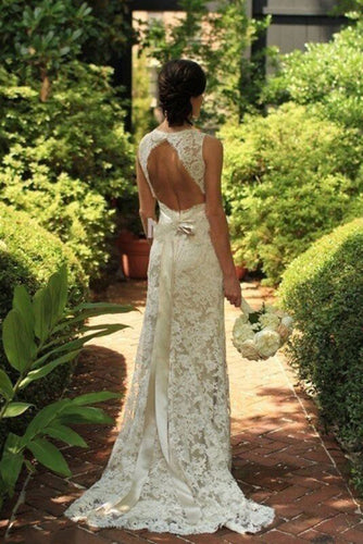 2018 Sheath Sleeveless Open Back Mermaid Lace V-neck Sweep Train Wedding Dresses UK PH292