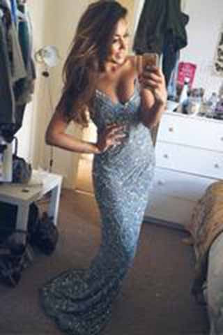 Stunning Mermaid Spaghetti Straps Beading V-Neck Appliques Long Prom Dresses uk PM923