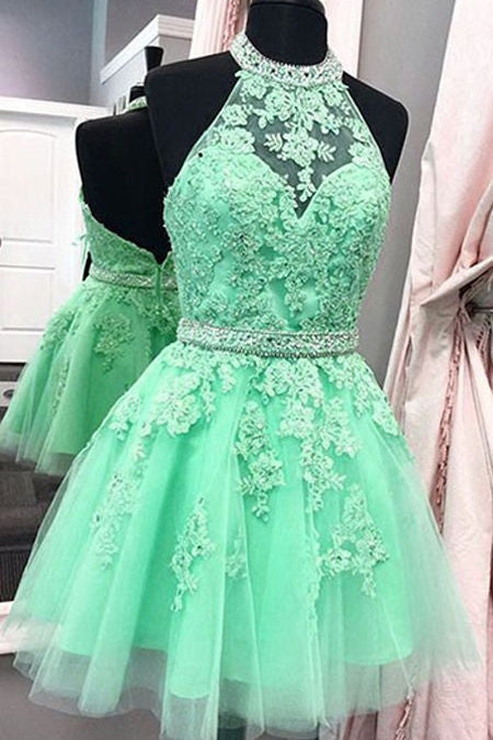 Sexy Halter Tulle Short New Arrival Appliques Cute Mini Homecoming Dress PM97