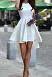 Short White High-Low Freshman Short Satin Cute Graduation Dress PH534