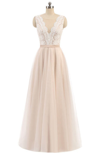 Elegant A Line Pink Tulle Lace High Neck Sleeveless Button Prom Evening Dresses PH598