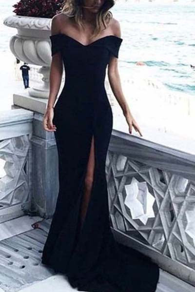 Sexy Leg Slit Long Off-the-Shoulder Jersey Sweetheart Mermaid Black Prom Dresses uk PM407