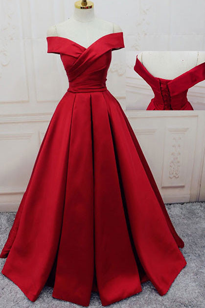 Gorgeous Red Off Shoulder Sweetheart Sleeveless Long Lace up Prom Dresses uk PM364