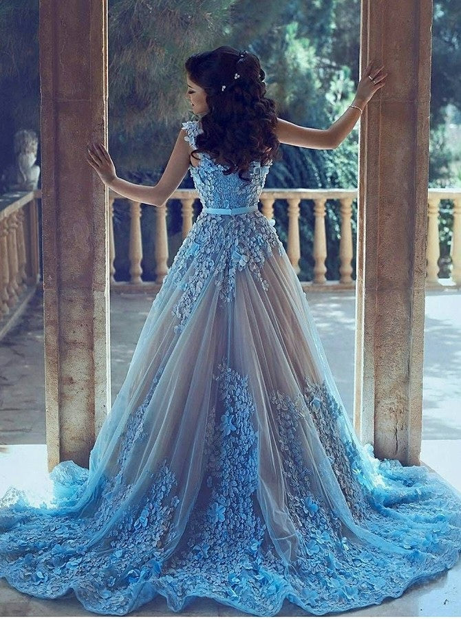 A-Line Square Chapel Train Sleeveless Blue Tulle Wedding Dress with Appliques Sash PM336