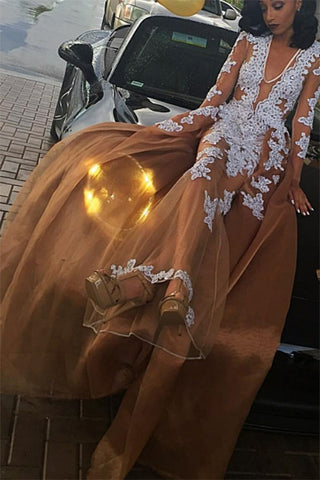 2018 V-neck A-line Lace Appliques Tulle Prom Dress Newest Long Sleeve Evening Dresses uk PH305