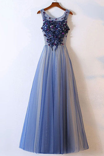 Elegant Long Appliques Blue Tulle Round Neck Long Evening Dress PM45