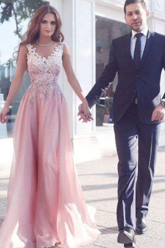 Elegant Pink Long V-Neck Appliques Sleeveless A-Line Chiffon Prom Dresses UK PH374