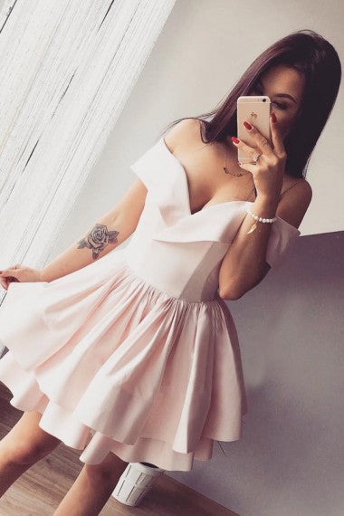 A-Line Off-the-Shoulder V-Neck Ruffles Short Pink Mini Satin Homecoming Dress PM279