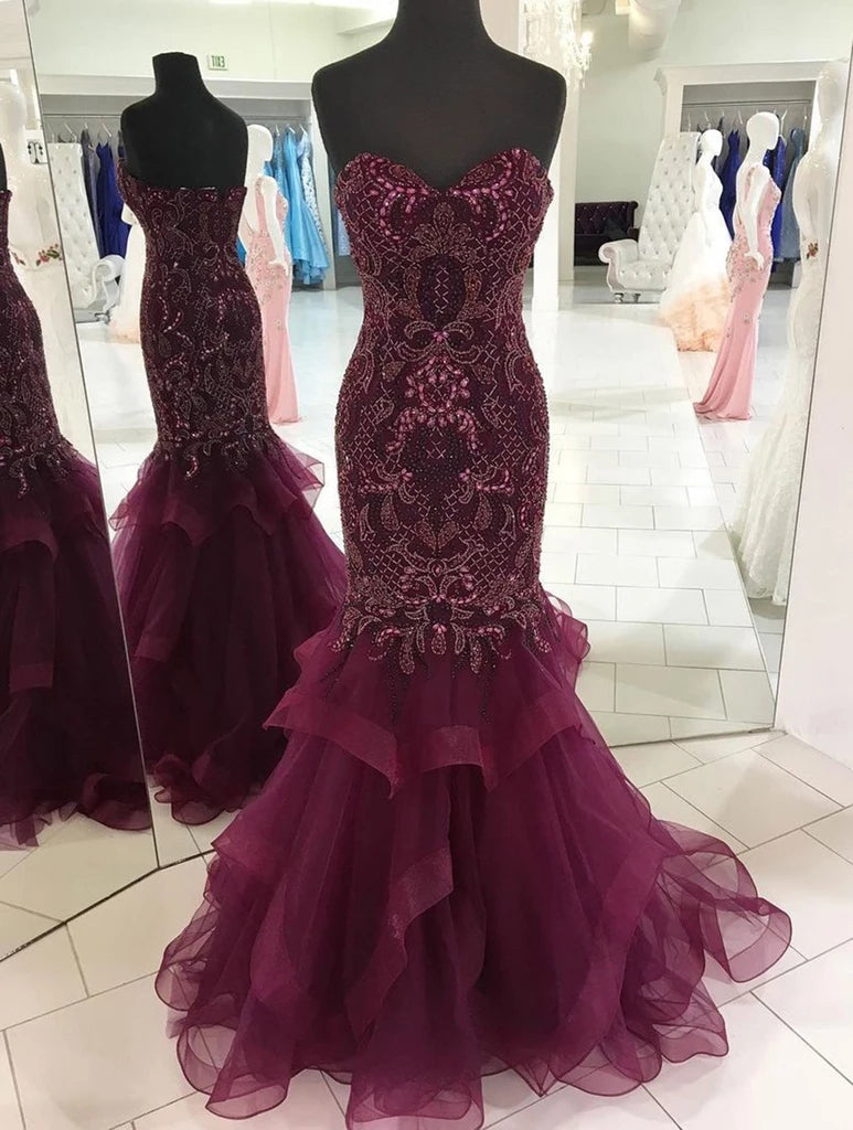 Strapless Sweetheart Long Tulle Mermaid Beads Prom Dresses, Maroon Formal Dresses P1239