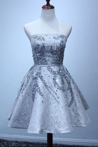 A Line Silver Strapless Mini Lace Shinny Sequin Lace up Appliques Homecoming Dresses uk PH828