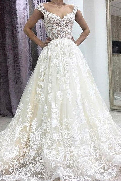 A-Line Deep V-neck Court Train Sleeveless Ivory Lace Wedding Dress with Appliques