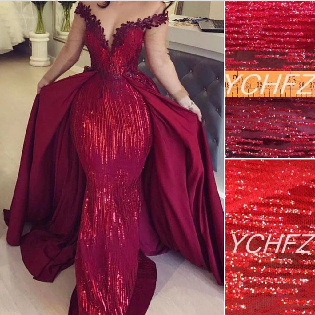 Mermaid Off the Shoulder Burgundy Long Sleeves V Neck Prom Dresses with Detachable Train P1327