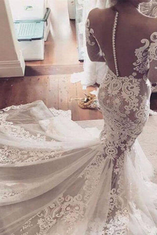 Illusion Neckline Lace Appliques Mermaid Long Sleeves Chapel Train Wedding Dress PM295