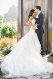 Mermaid Boat Neck Chapel Train Ivory Tulle Sleeveless Wedding Dress with Appliques Ruffles PM233