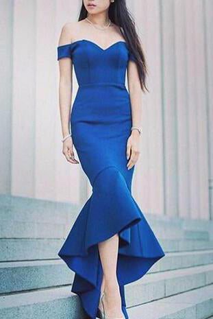 Charming Royal Blue Off-the-Shoulder Mermaid Sexy Sweetheart Formal Evening Dresses uk PH252