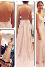Backless Spaghetti Straps V-Neck Pink Open Back Chiffon Evening Gowns PH508