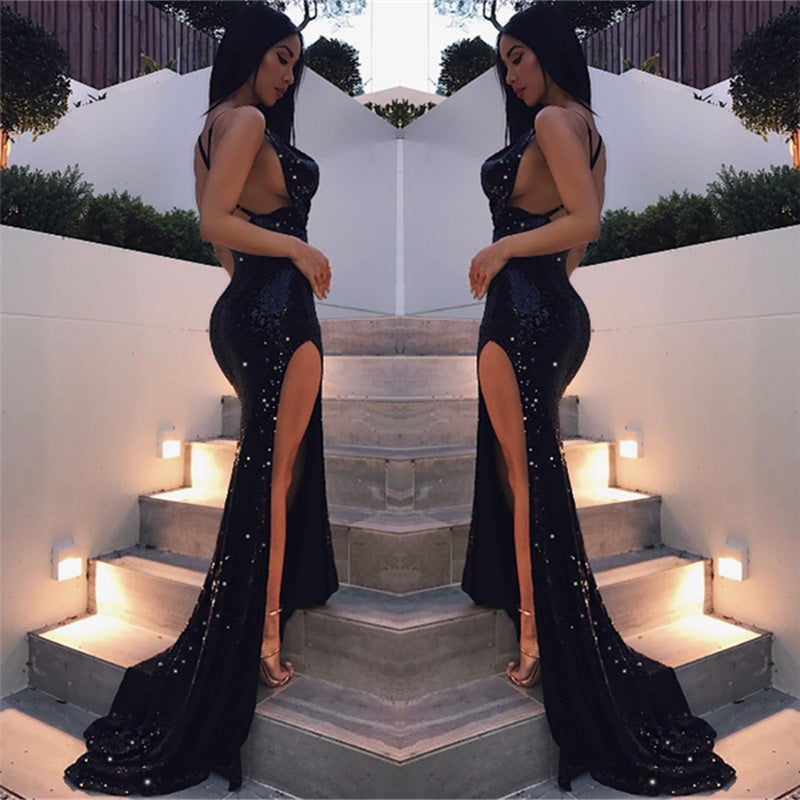 Black Criss-cross Sexy Split Latest Shiny Floor-length Mermaid Sleeveless Prom Dresses uk PM299