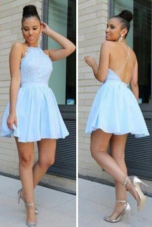 Light Blue Short Chiffon Backless Simple Homecoming Dresses PH526