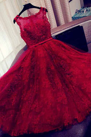 Fashion A-Line Scoop Sleeveless Red Long Homecoming Dress With Appliques PM14