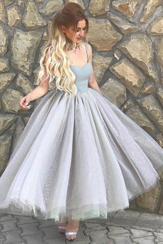 f4658f95cf2 Simple A-Line Spaghetti Straps Gray Tulle Short Ball Gown Sweetheart  Homecoming Dress