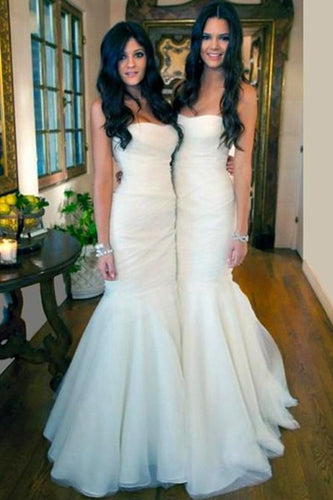 Gorgeous White Tulle Strapless Mermaid Long Cheap Simple Long Wedding Dresses PM574