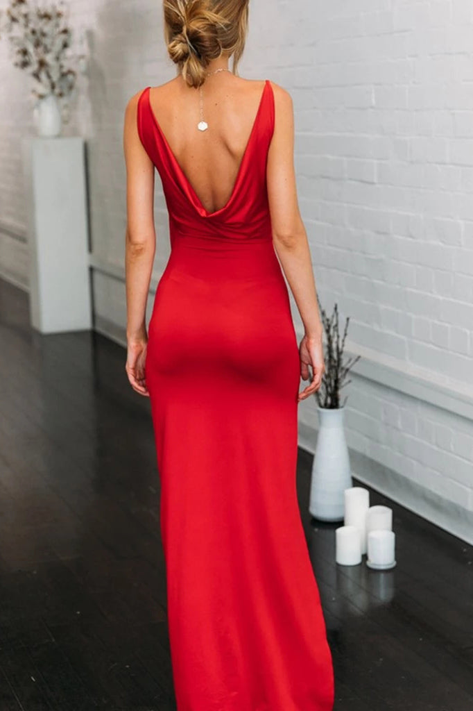 Simple Spaghetti Straps Red Mermaid V Neck Prom Dress with High Slit, Open Back Dance Dress P1269