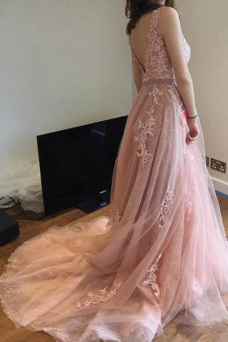 Charming Pink Lace Tulle Long A-line Open Back Elegant Little Train Wedding Dresses PM624