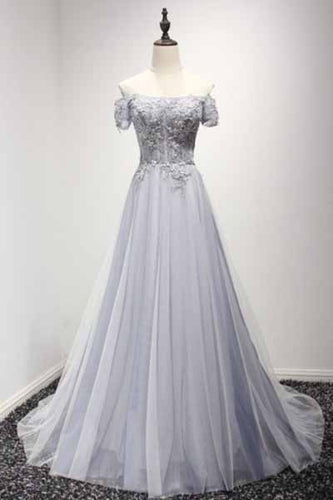Dusty Blue A-Line Off-the-Shoulder Tulle Lace up Prom Dresses uk with Appliques Lace PM956