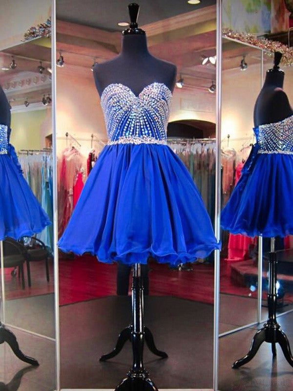 A-Line Royal Blue Shining Sweetheart Beading Short Mini Homecoming Dresses PM342