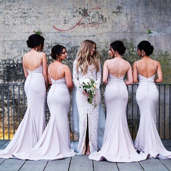 Spaghetti Straps Sweetheart Backless Sleeveless Mermaid Popular Bridesmaid Dresses PM514
