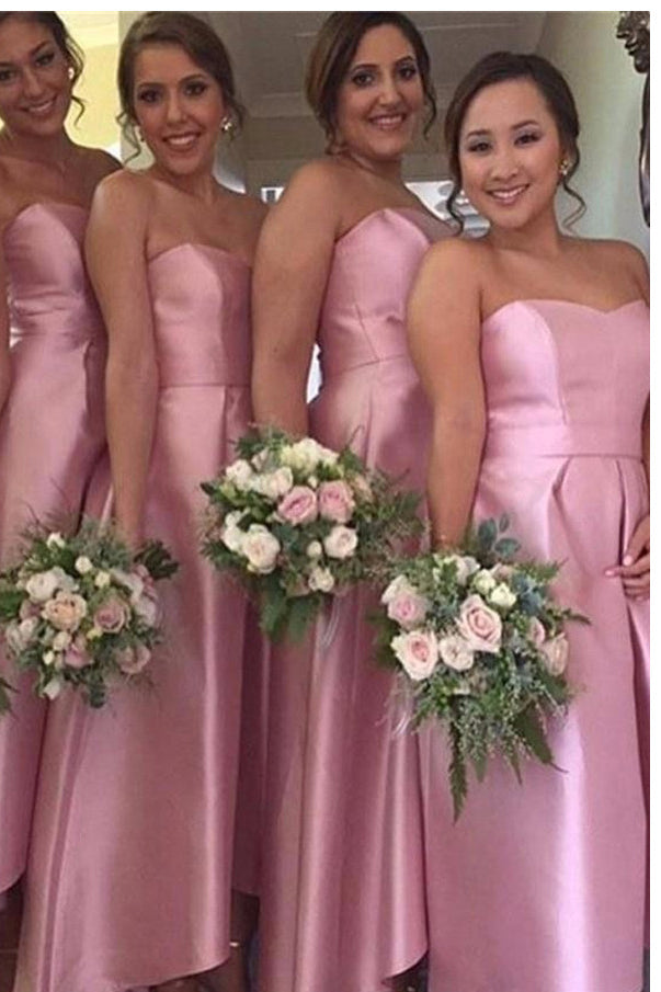 Charming A-Line Sweetheart Satin Floor-Length Pink High-Low Bridesmaid Dresses PM415