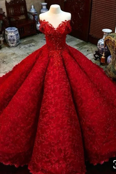 Ball Gown Red V Neck Long Off the Shoulder Prom Dresses, Quinceanera Dresses P1445