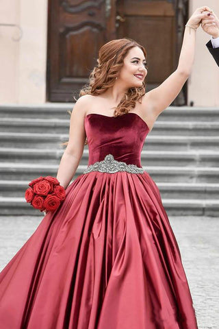 Special Burgundy Velvet Sweetheart Beads Strapless Sash Ruched Satin Prom Dresses uk PW130