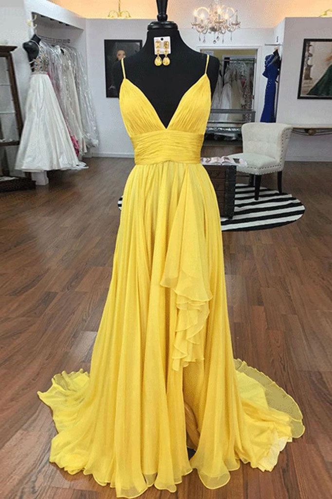 Simple Spaghetti Straps A Line Yellow Ruffles V Neck Prom Dresses, Evening Dresses P1333