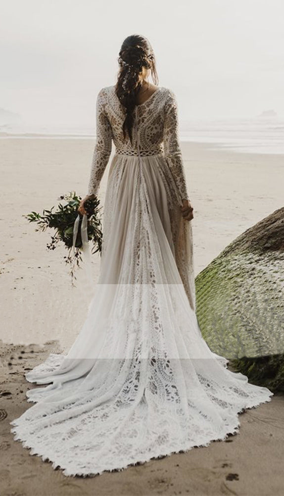 Charming A Line Long Sleeves V Neck Lace Ivory Beach Wedding Dresses, Bridal Dress W1253