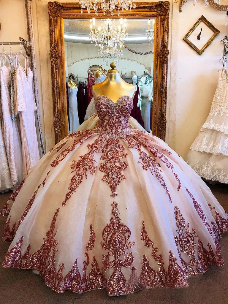 Princess Ball Gown Strapless Sweetheart Prom Dresses with Tulle, Beading Quinceanera Dresses P1403