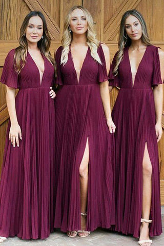 Long Deep V Neck Pleats Dark Red Chiffon Split Bridesmaid Dress,Long Prom Dresses PW343