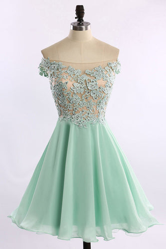 Short Chiffon Tulle Appliques Lace Beads Cute Off the Shoulder Green Homecoming Dresses PH740