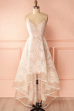 A-Line Ivory V-Neck Lace Spaghetti Straps High Low Open Back Homecoming Dresses PH517