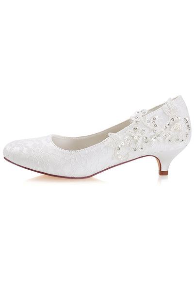White Lace Sequins Wedding Shoes,Lower heel Evening Shoes uk L-923