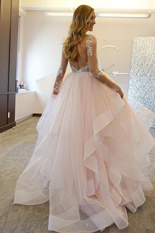 Fashion Ball Gown Lace Sheer Illusion Tulle Backless Long Sleeveless Asymmetrical Wedding Dress PM409