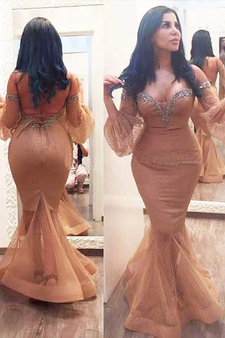 Mermaid 3/4 Sleeves Off the Shoulder Beads Brown Lace up Plus Size Prom Dresses uk PW164