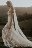 Princess Mermaid V Neck Lace Appliques Ivory Wedding Dresses, Straps V Back Wedding Gowns W1205